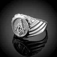 White Gold Masonic Men's Ring