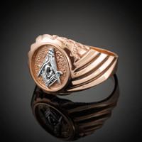 Rose Gold Masonic Men's Ring
