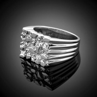 White Gold Mens Nugget Ring