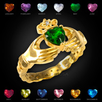 Gold Claddagh birthstone CZ ring with a diamond