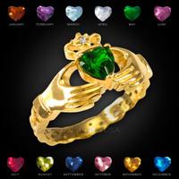 Gold Claddagh birthstone CZ ring with a diamond