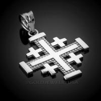 White Gold Jerusalem Cross Pendant