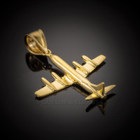Gold 3D Airplane Pendant