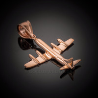 Rose Gold 3D Airplane Pendant