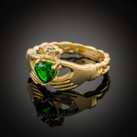 Gold Celtic Band Emerald Green CZ Claddagh Ring