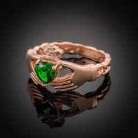 Rose Gold Celtic Band Emerald Green CZ Claddagh Ring