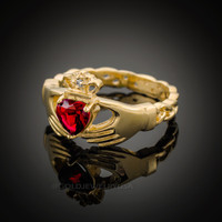 Gold Celtic Band Ruby Red CZ Claddagh Ring