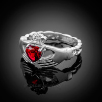 White Gold Celtic Band Ruby Red CZ Claddagh Ring