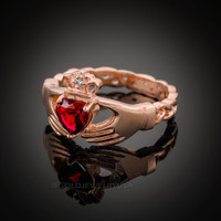 Rose Gold Celtic Band Ruby Red CZ Claddagh Ring