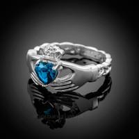 White Gold Celtic Band Blue Topaz CZ Claddagh Ring