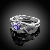 White Gold Celtic Band Amethyst CZ Claddagh Ring
