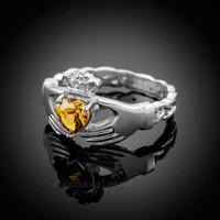 White Gold Celtic Band Citrine CZ Claddagh Ring