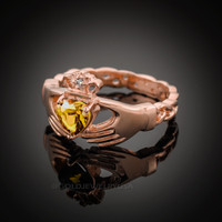 Rose Gold Celtic Band Citrine CZ Claddagh Ring