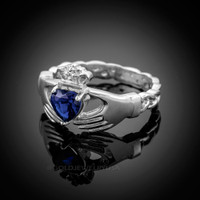 White Gold Celtic Band Sapphire CZ Claddagh Ring