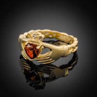 Gold Celtic Band Garnet CZ Claddagh Ring