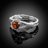 White Gold Celtic Band Garnet CZ Claddagh Ring