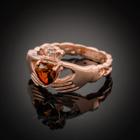 Rose Gold Celtic Band Garnet CZ Claddagh Ring