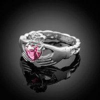 White Gold Celtic Band Pink Zirconia Claddagh Ring
