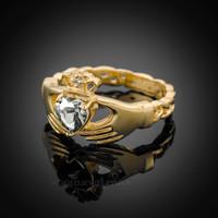 Gold Celtic Band Diamond clear CZ Claddagh Ring