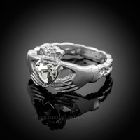 White Gold Celtic Band Diamond clear CZ Claddagh Ring