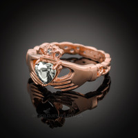 Rose Gold Celtic Band Diamond clear CZ Claddagh Ring