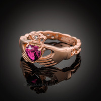 Rose Gold Celtic Band Alexandrite CZ Claddagh Ring