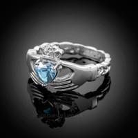 White Gold Celtic Band Aquamarine CZ Claddagh Ring