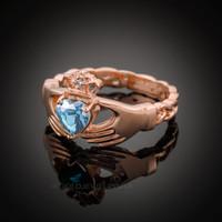 Rose Gold Celtic Band Aquamarine CZ Claddagh Ring