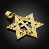 Gold Star of David Cross Large Pendant