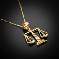 Gold Scales of Justice necklace.