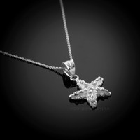 White Gold Sea Star Charm Necklace