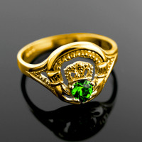 Gold Claddagh Ring with Emerald
