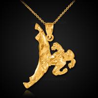 Female Karate Gold Sports Pendant Necklace