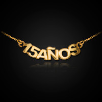 14K Gold 15 Años Quinceanera Necklace