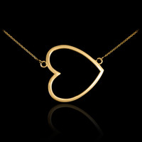 14K Gold Sideways Open Heart Necklace