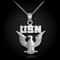 White gold US Navy necklace
