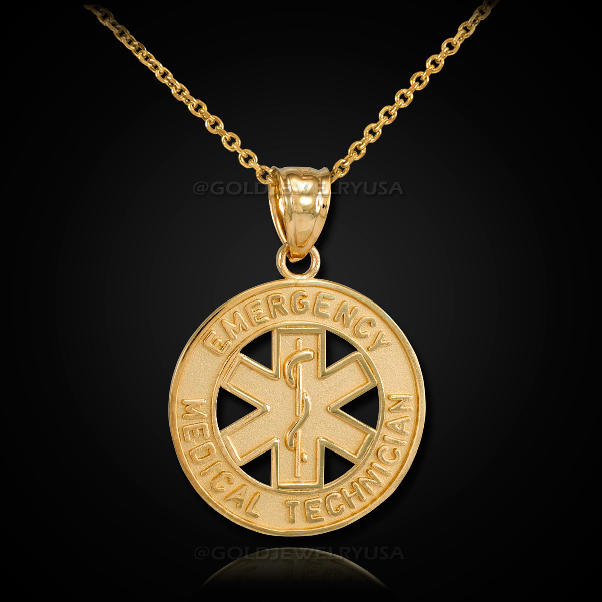 Gold Emt Medical Technician Pendant Necklace