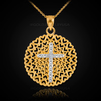 Two-Tone Gold Filigree Heart Cross Diamond Pendant Necklace