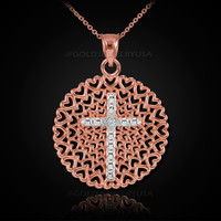 Rose Gold Filigree Heart Cross Diamond Pendant Necklace