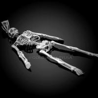 Diamond-Cut White Gold 3D Skeleton Dangle Pendant