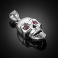 White Gold Skull Pendant with Red CZ Eyes