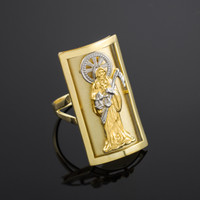 Two-tone Gold Santa Muerte Fancy Ring
