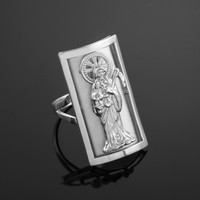 White Gold Santa Muerte Fancy Ring
