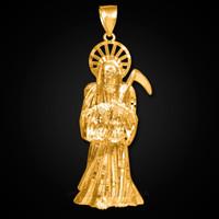 Gold Santa Muerte Large Pendant