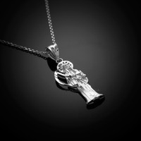 White Gold Santa Muerte necklace