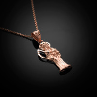 rose Gold Santa Muerte necklace