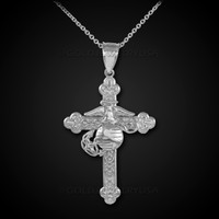 White Gold US Marine Christian Cross Pendant Necklace