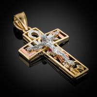 Gold Lucky Crucifix CZ Pendant