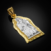 Two-tone Gold Virgin Mary Guadalupe Pendant
