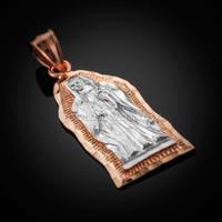Two-tone Rose Gold Virgin Mary Guadalupe Pendant